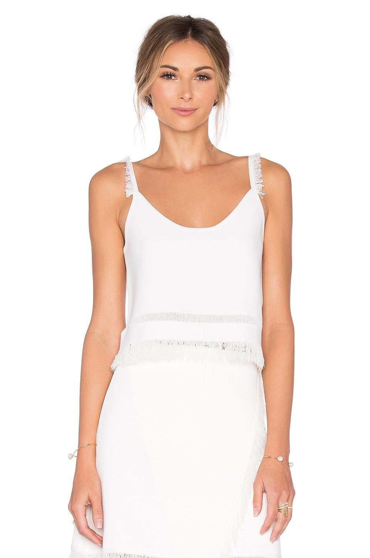 Lucy Paris Eyelash Fringe Top in White