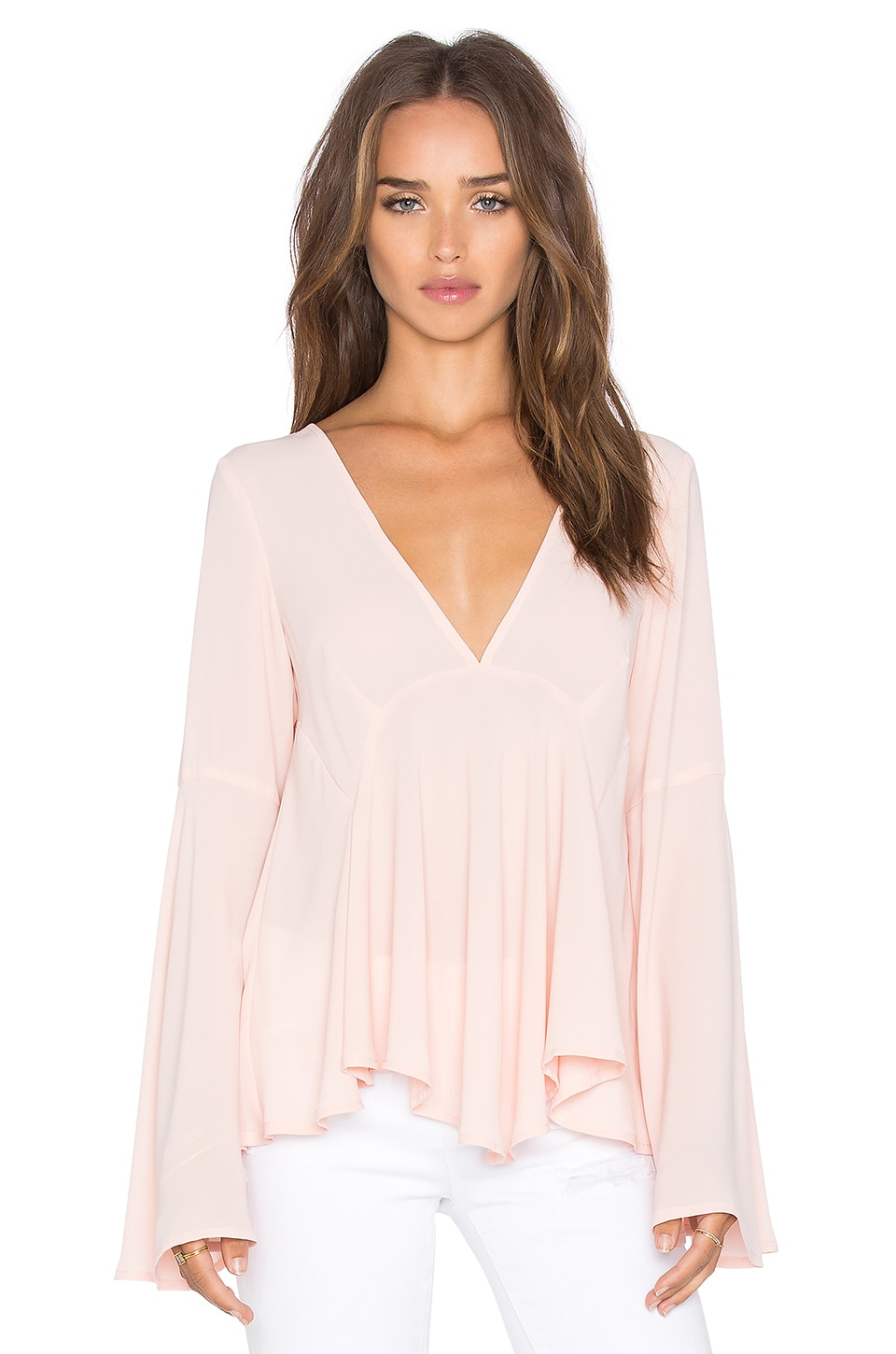 Lucy Paris Bell Sleeve Top in Blush