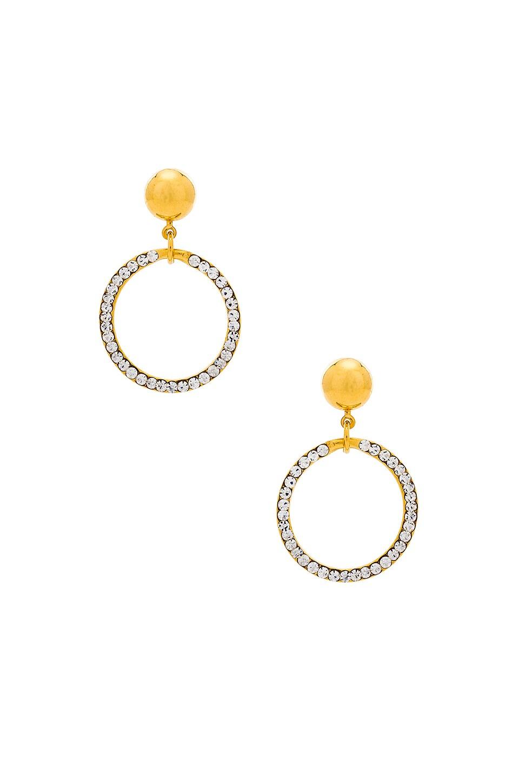 LARUICCI Crystal Circle Earrings in Metallic Gold