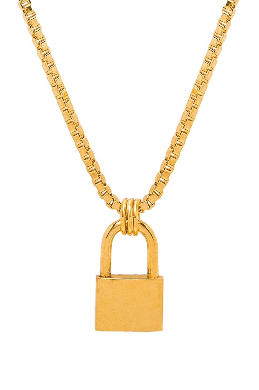 LARUICCI Lock Necklace in Metallic Gold