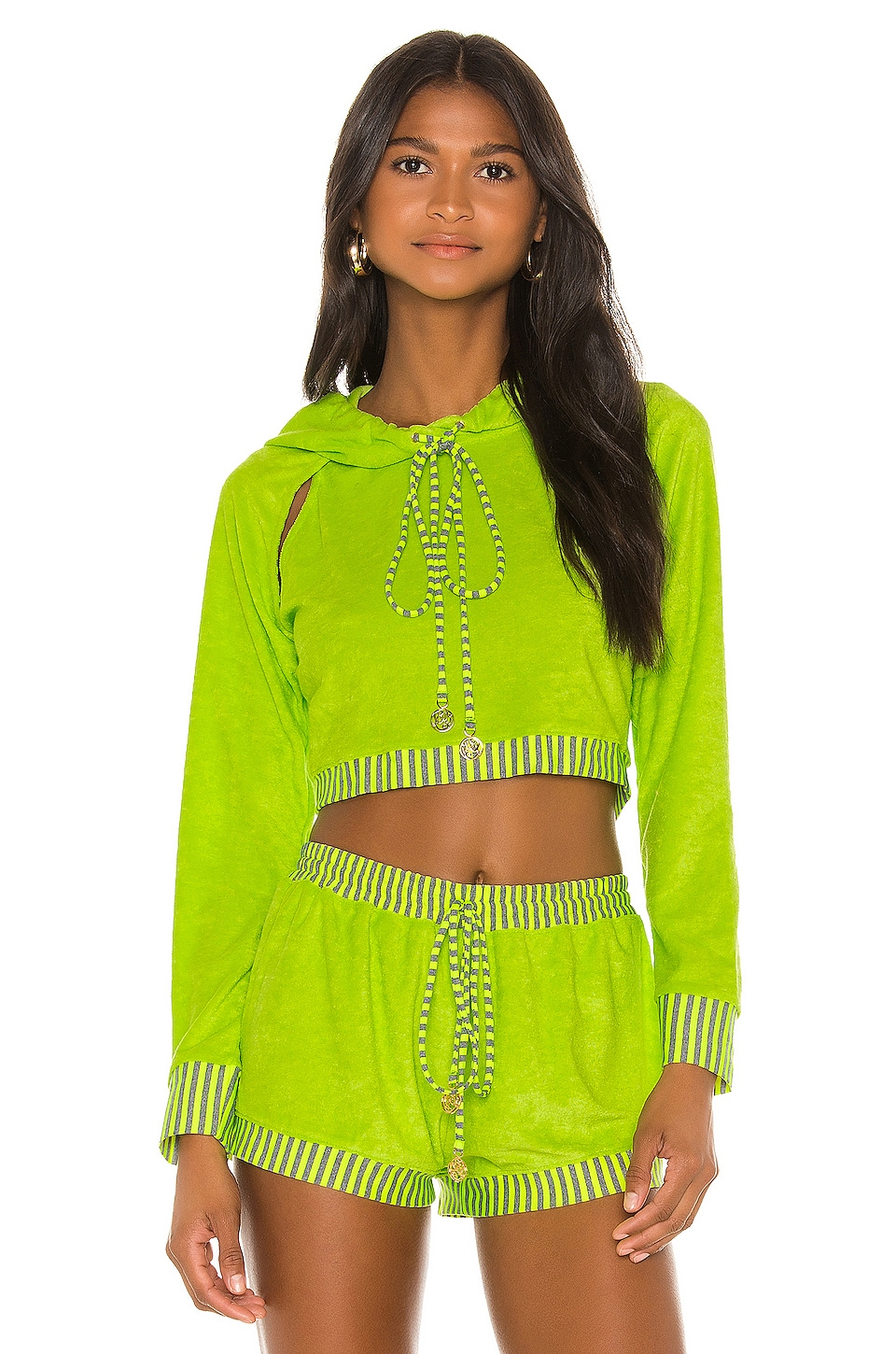 Luli Fama Cut Out Cropped Hoodie in Neon Yellow
