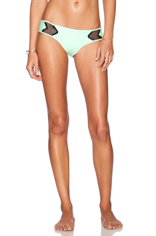 Luli Fama For Your Eyes Only Net Bikini Bottom in Mint