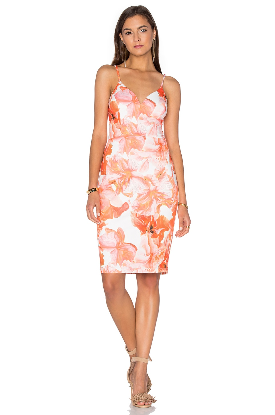 Lumier Marble Floral Midi Dress in Orange Floral