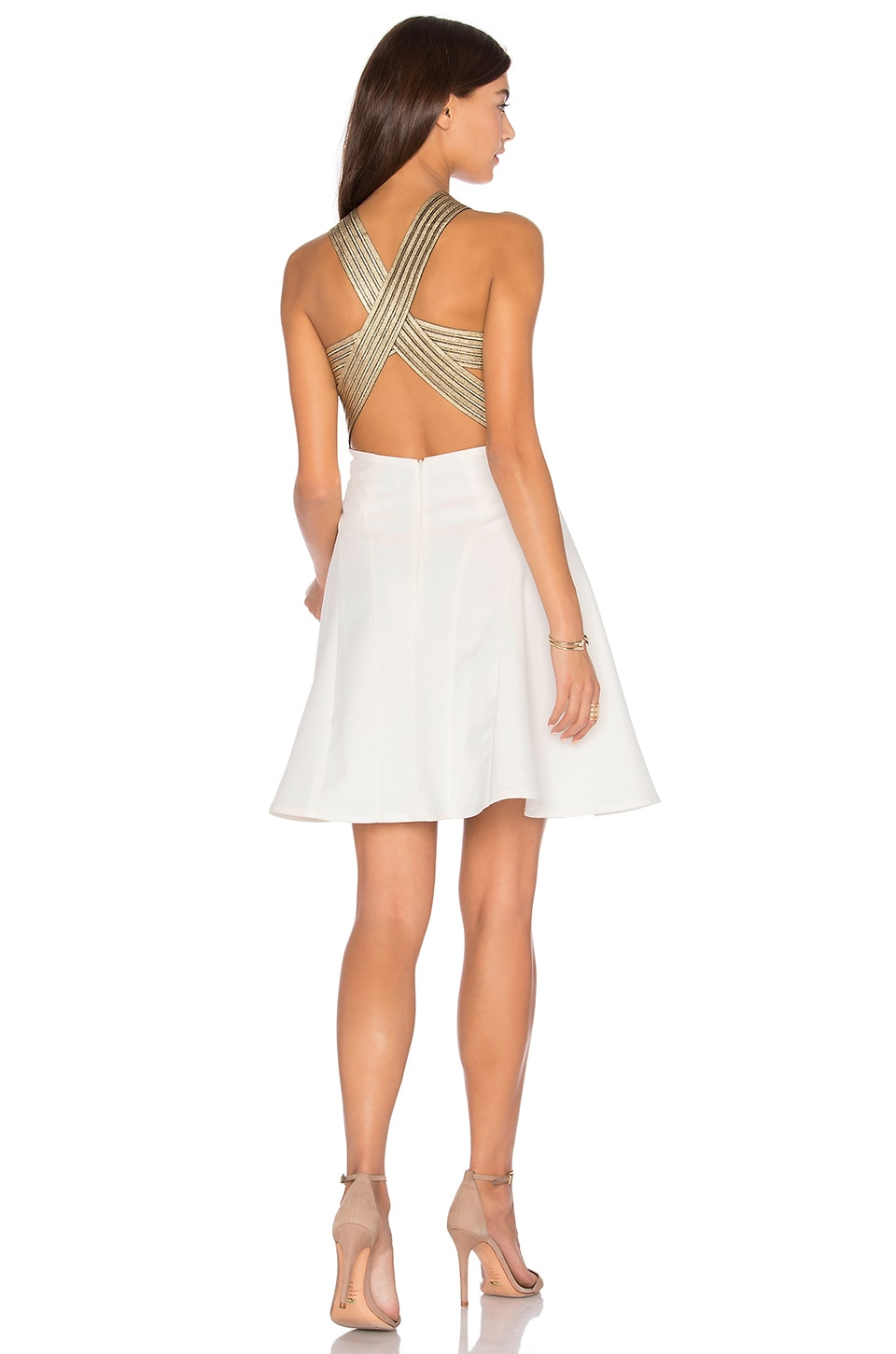 lumier between the lines fit and flare dress in white gold revolve