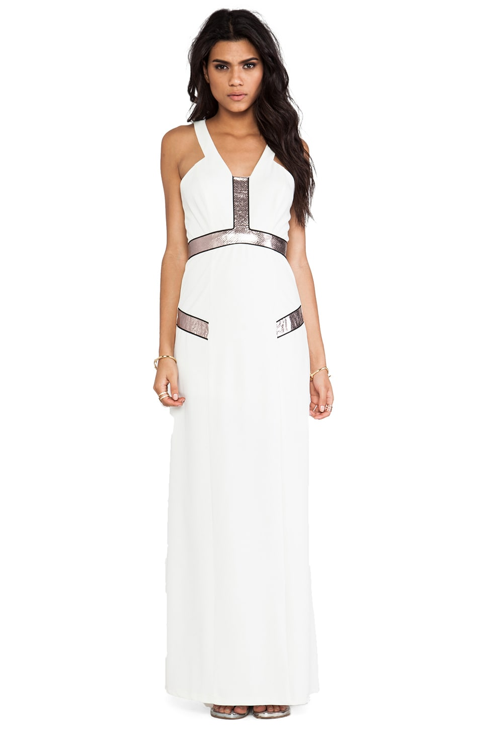 Lumier Queen Serpent Maxi Dress in White & Fawn