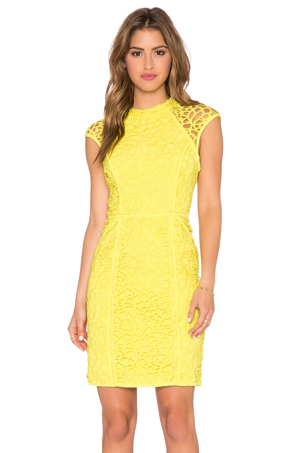 Lumier Heart Contours Lace Sheer Cap Sleeve Dress in Yellow