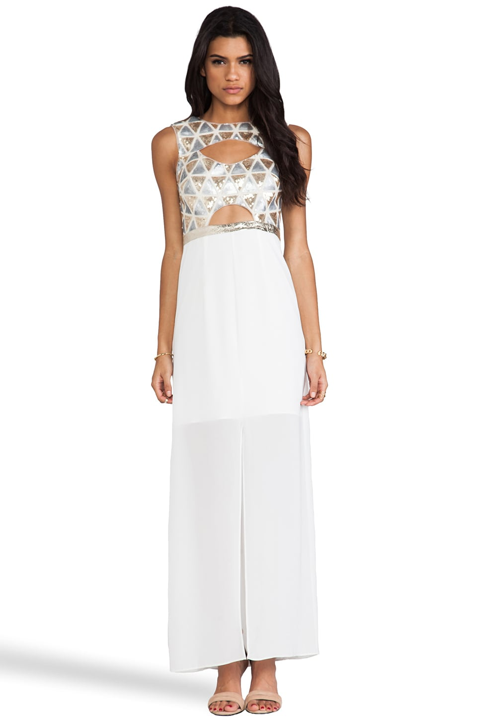 Lumier Blessing In Disguise Maxi Dress in Gold & Silver & White