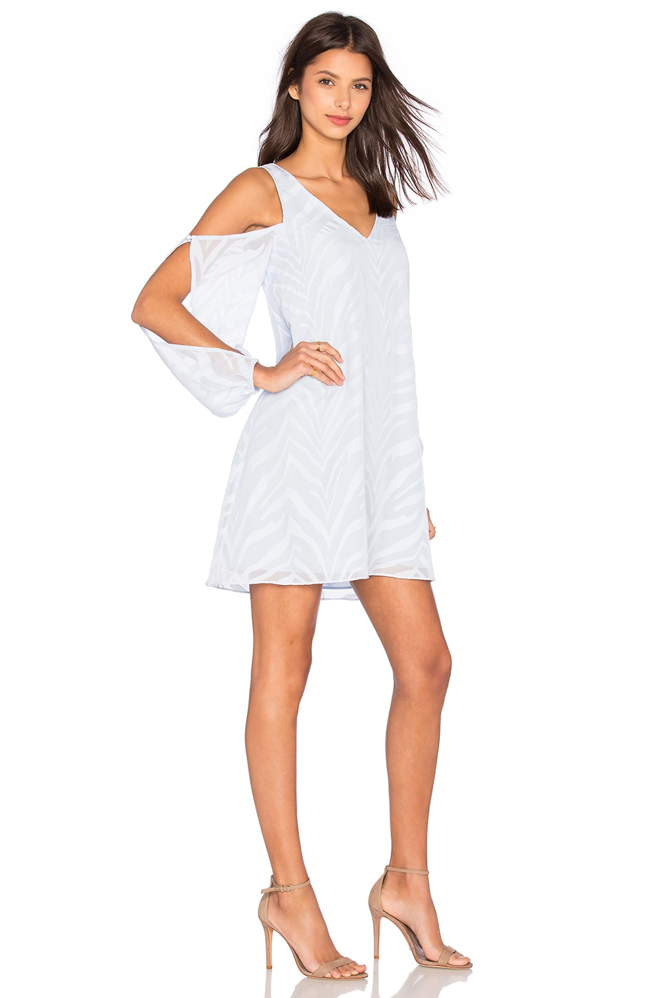 Lumier Change of Thought Long Sleeve Tunic Dress in Pale Blue