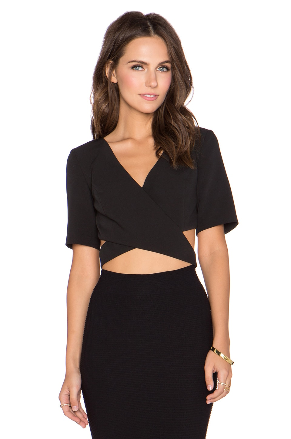 Lumier Strap Yourself In Wrap Crop Top in Black