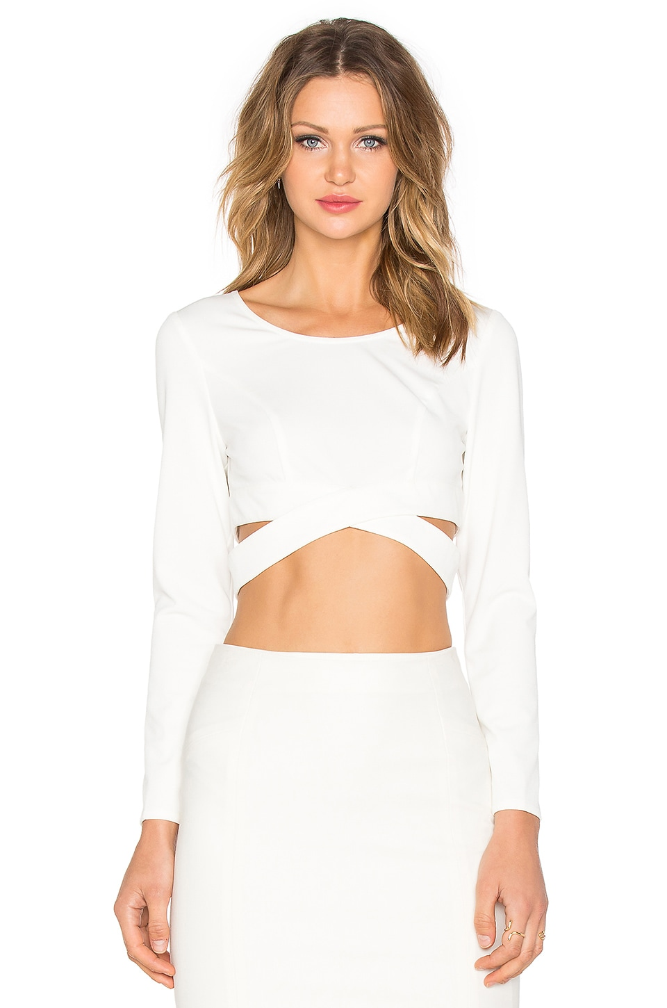 Lumier Surreal Silence Wrap Crop Top in White