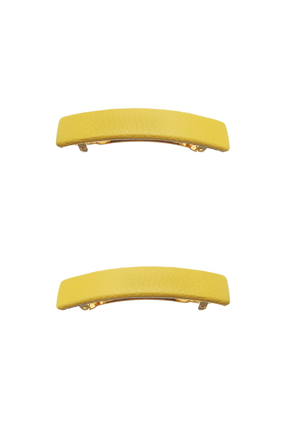 L. Erickson USA Genuine Leather Rectangle Barrette in South Beach Yellow