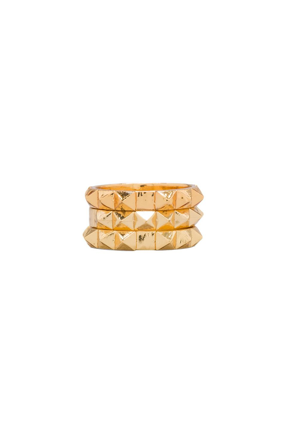 Luv AJ The Punk Stud Ring Set of 3 in Gold