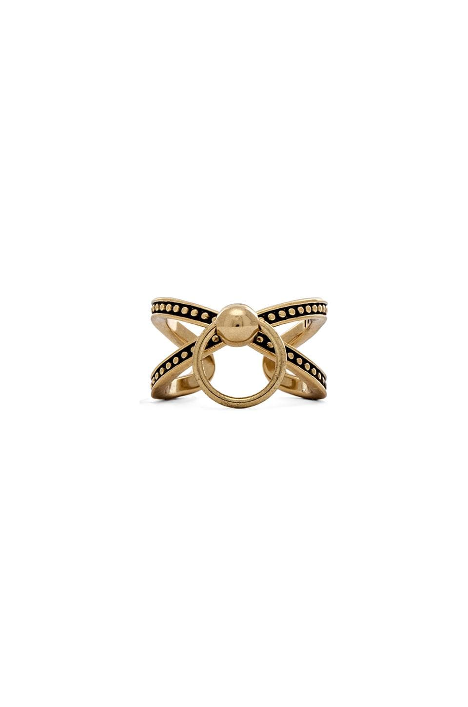 Luv AJ Ring of Fire Cross Ring in Antique Gold