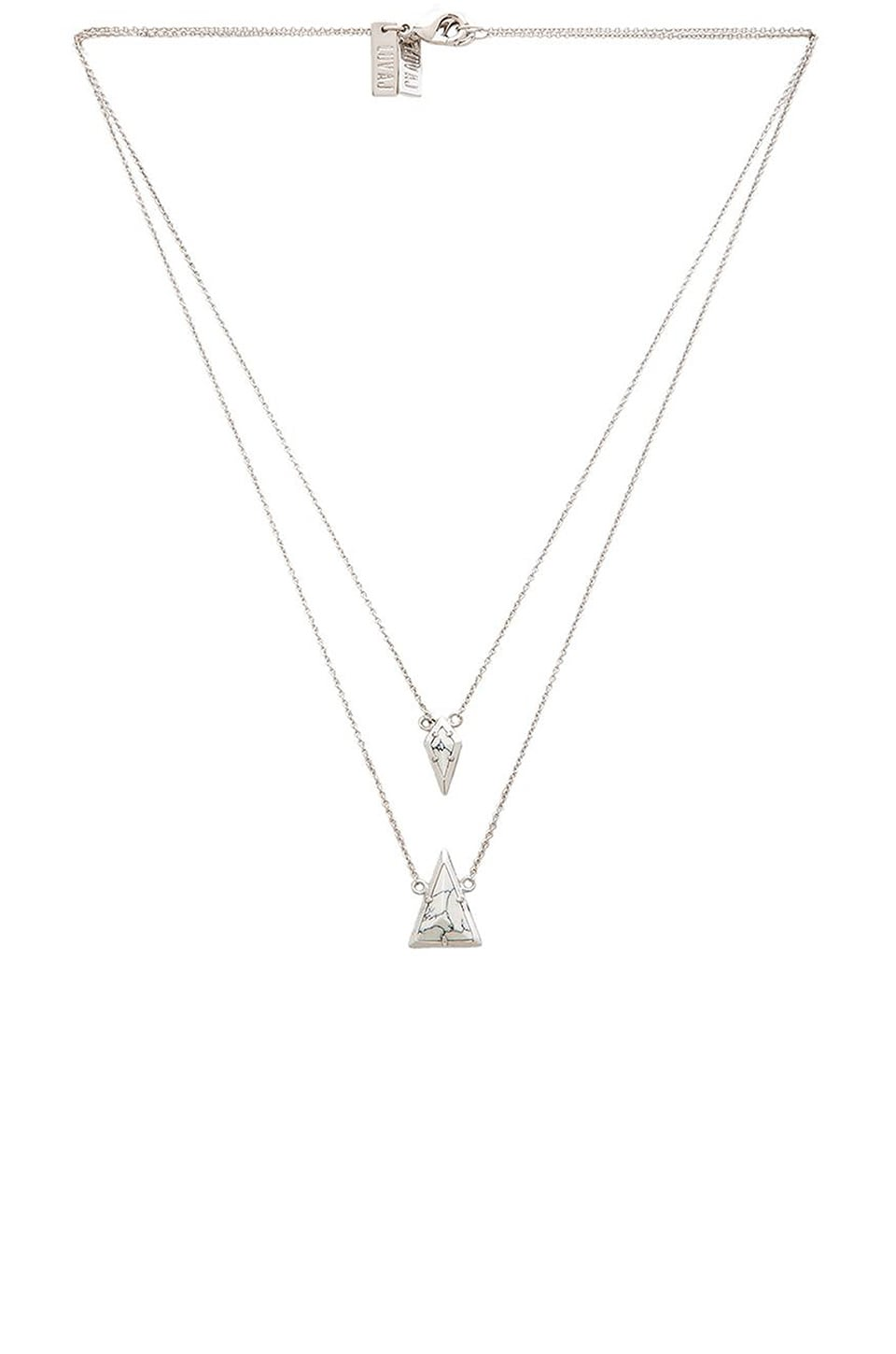 Luv AJ The Double Marble Charm Necklace in Silver