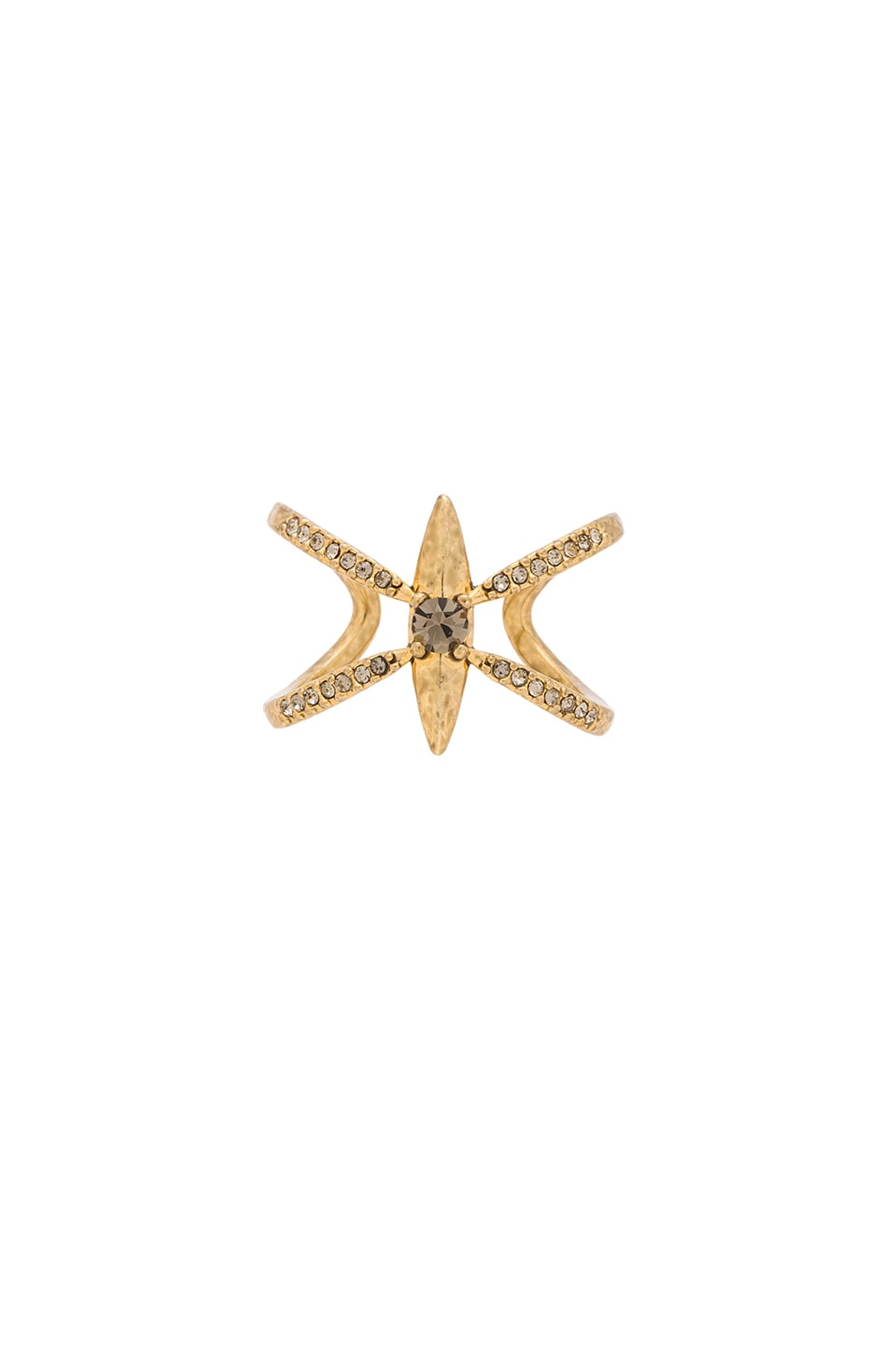Luv AJ The Petal Pointe Cross Ring in Antique Gold
