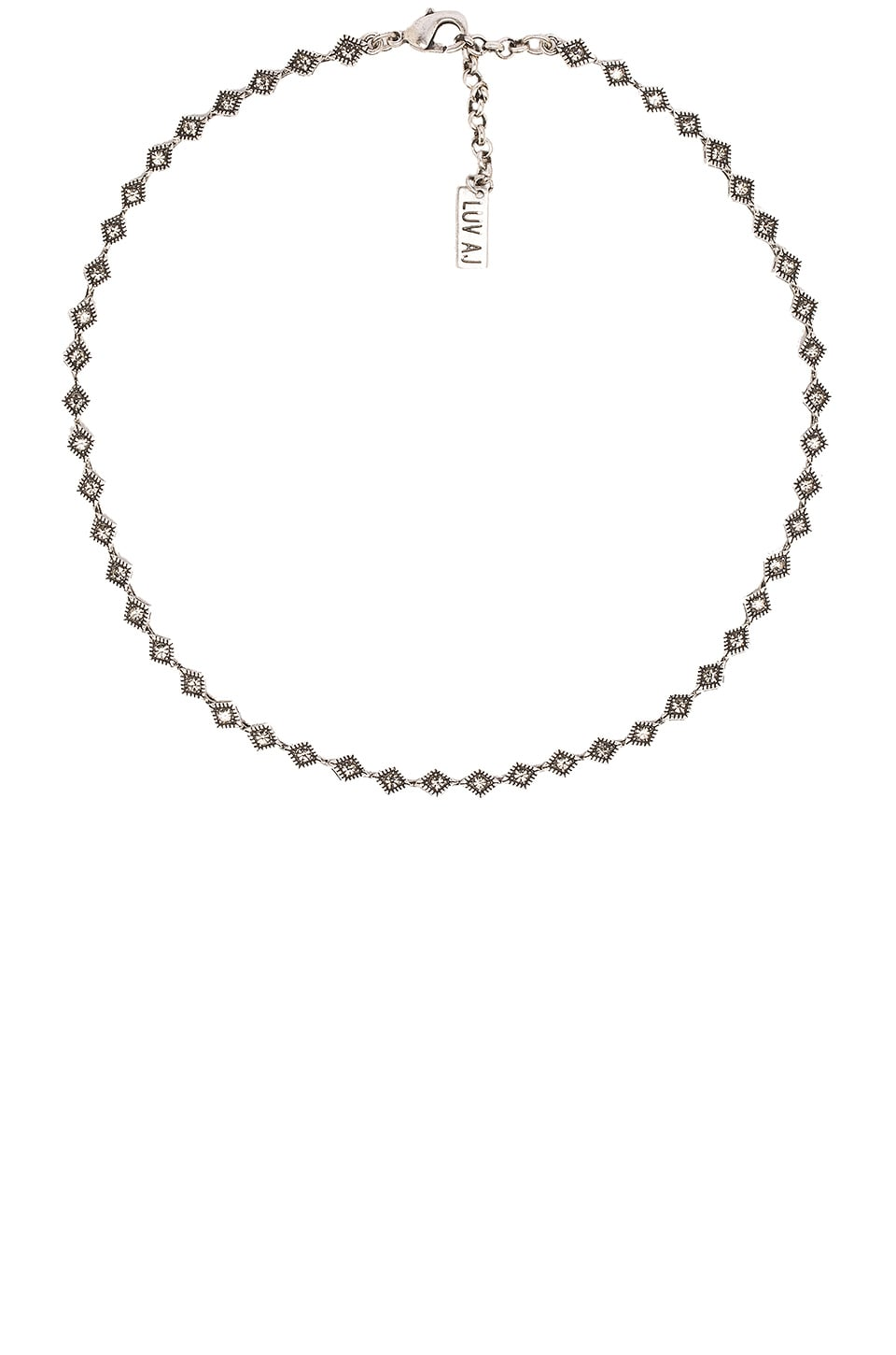 Luv AJ The Diamond Kite Choker in Silver Ox