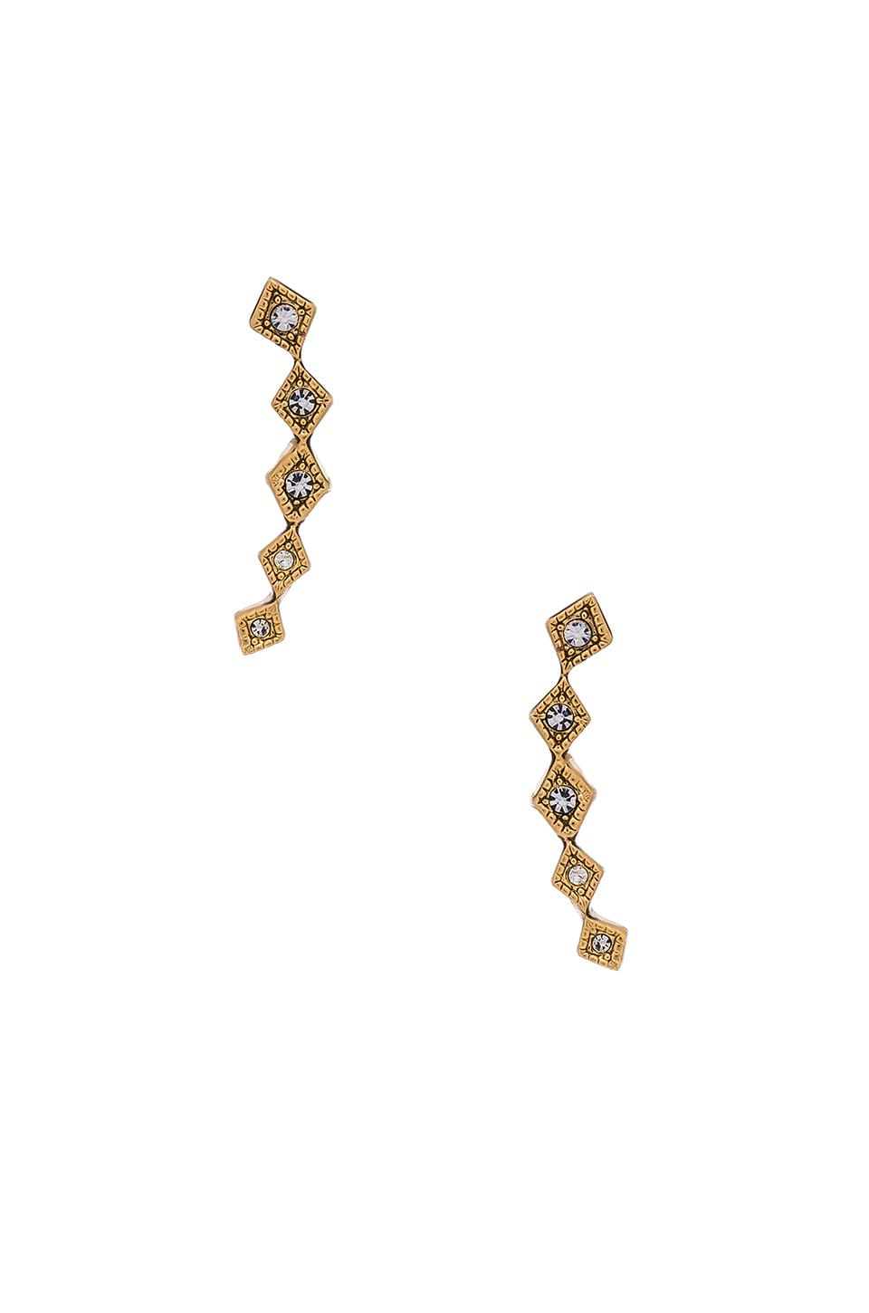 Luv AJ The Diamond Kite Crawler Earring in Antique Gold