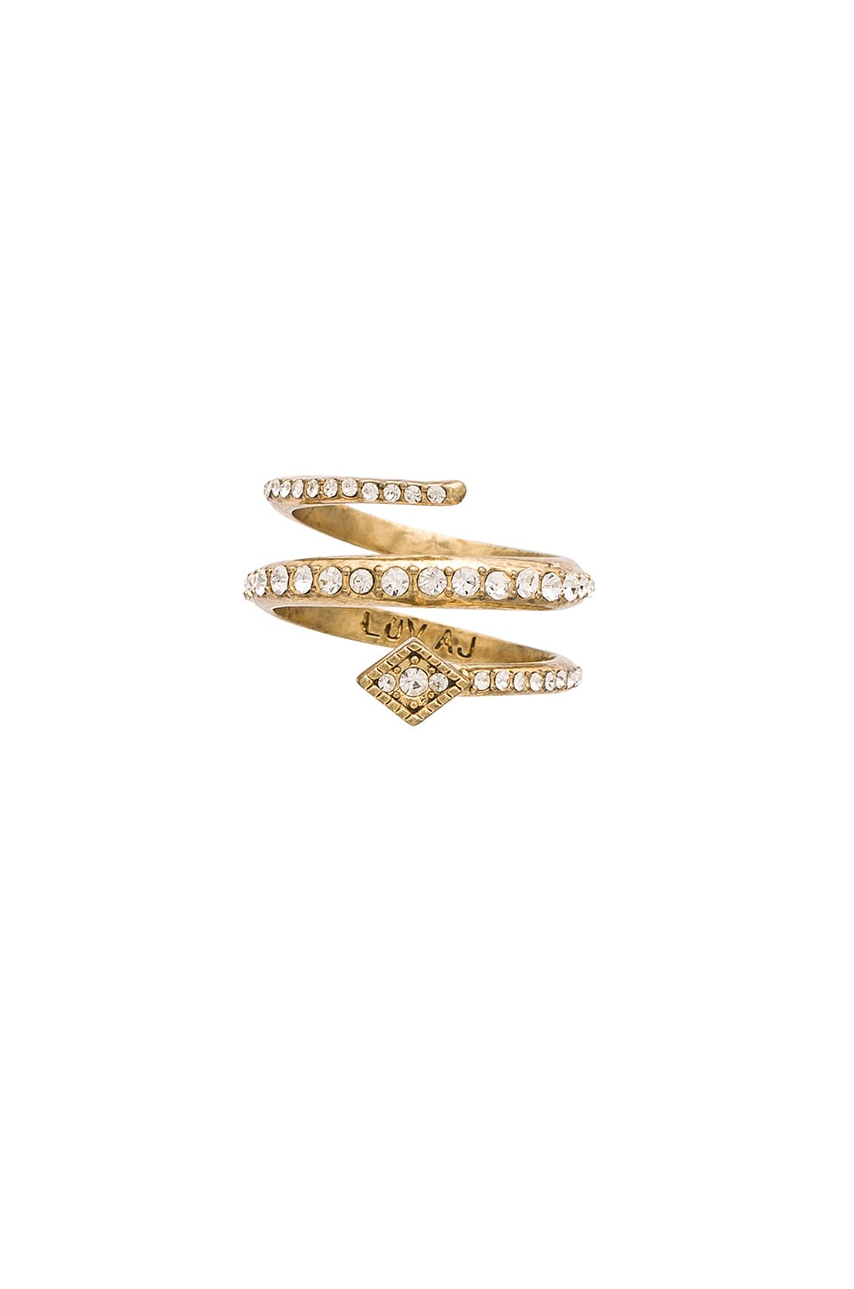 Luv AJ The Diamond Kite Coil Ring in Antique Gold