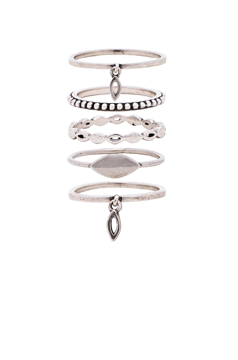 Luv AJ Marquise Ring Set in Silver Ox