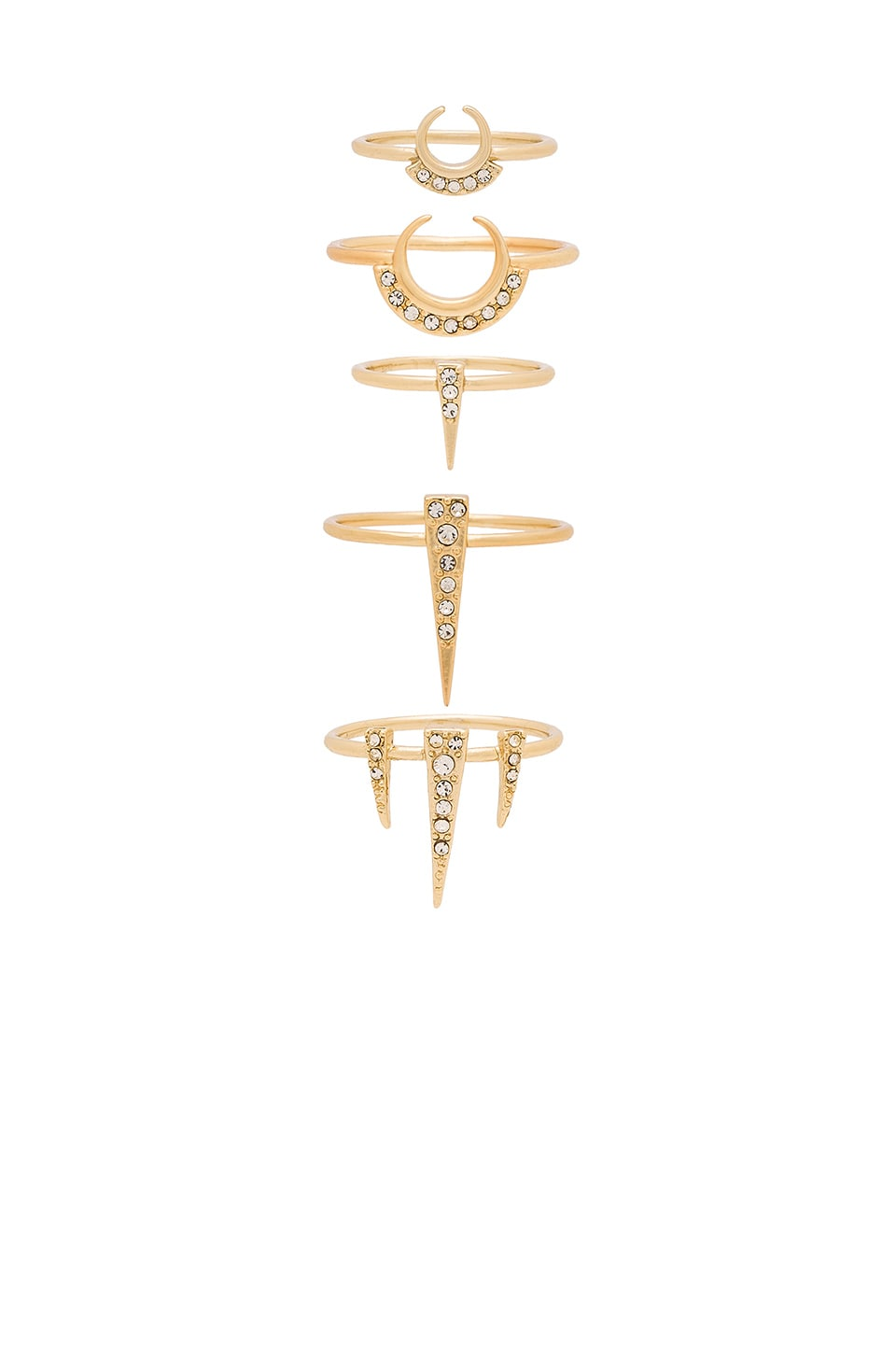 Luv AJ Crescent Spike Ring Set of 5 in Antique Gold