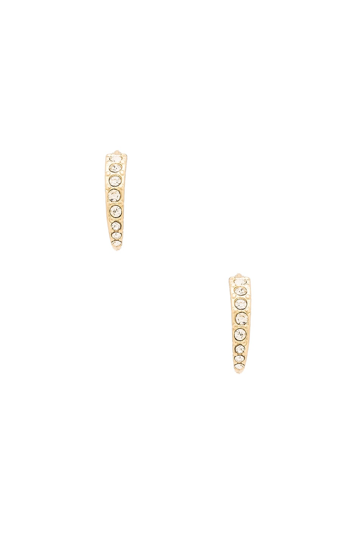 de0477fb5d9e4 Luv AJ Pave Crescent Huggies in Antique Gold | REVOLVE