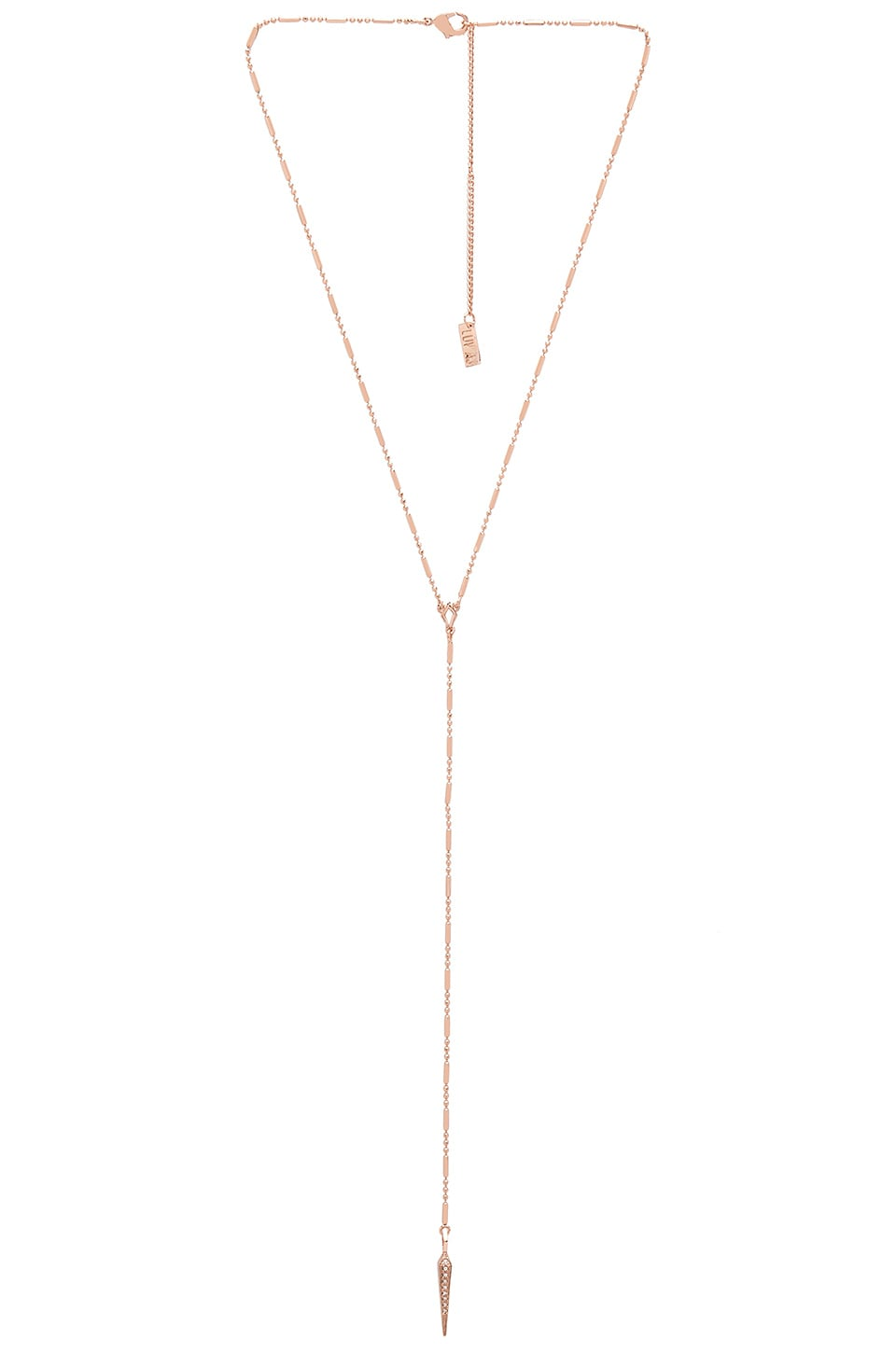Luv AJ Pave Crescent Lariat in Rose Gold