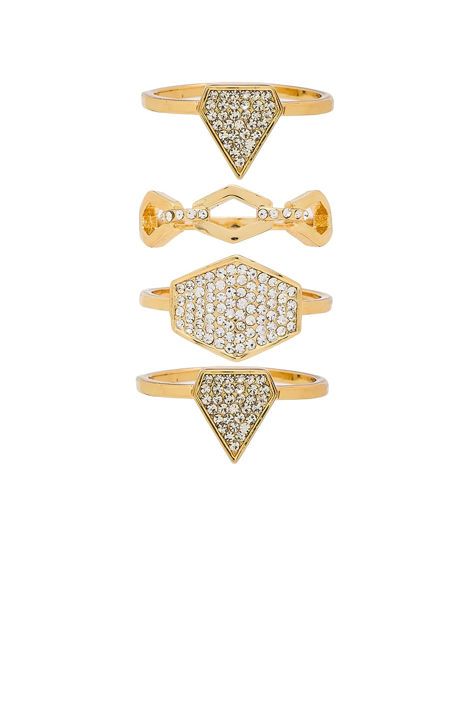 Luv AJ Pave Shield Ring Set in Antique Gold
