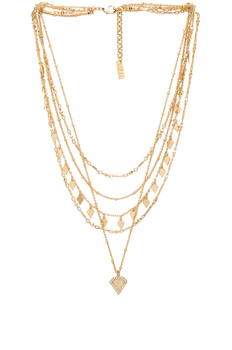 Luv AJ Moonstone Multi Charm Necklace in Antique Gold