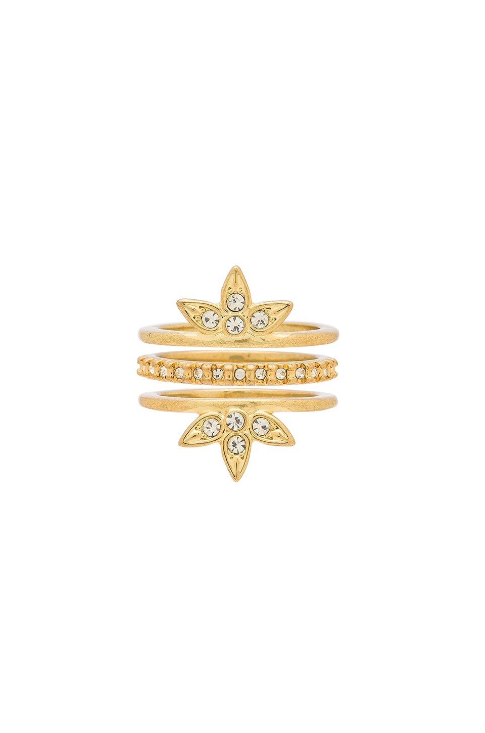 Luv AJ Posie Pave Ring Set in 14K Antique Gold