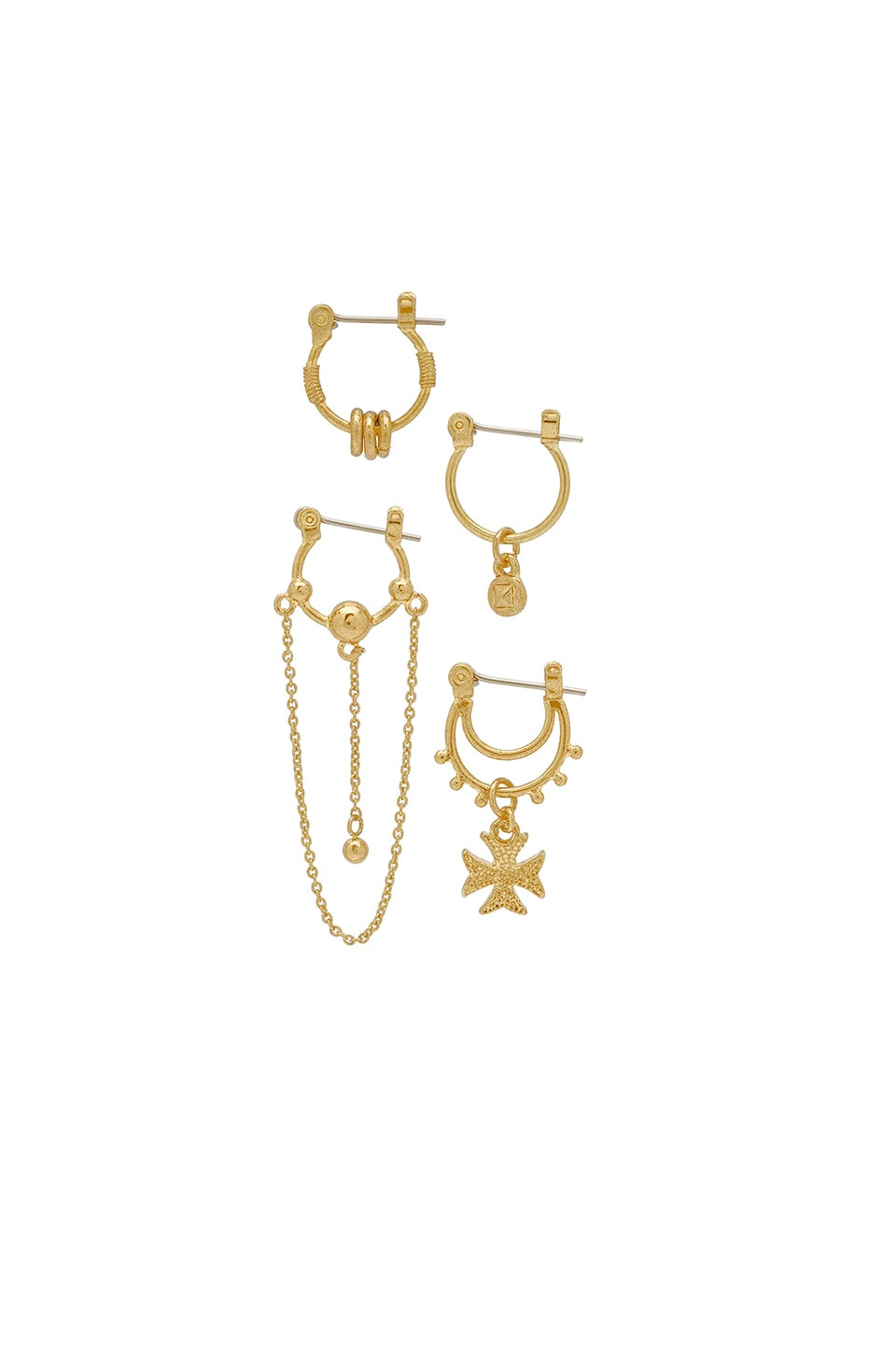 Luv AJ x SABO LUXE Heli Hoop Huggies Earring Set in Antique Gold