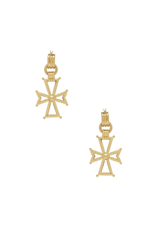 Luv AJ x SABO LUXE Mattan Cross Statement Hoop Earrings in Antique Gold