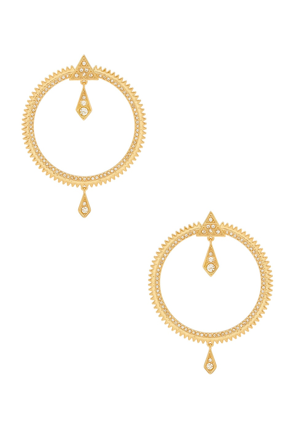Luv AJ Pave Kite Statement Hoops in 14K Antique Gold
