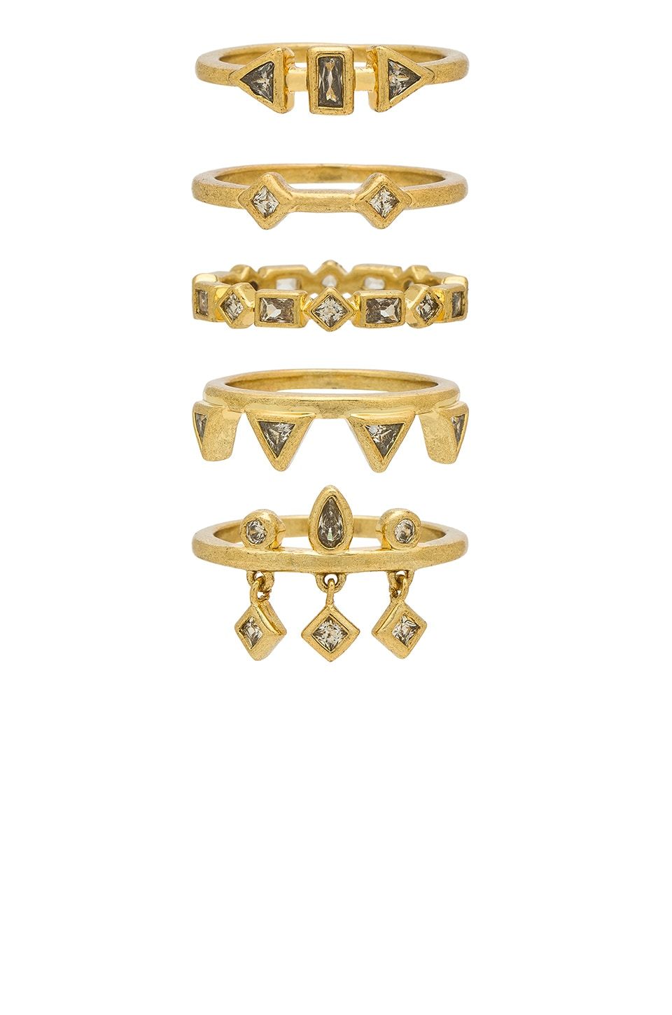 Luv AJ The Medley Stone Ring Set in 14K Antique Gold