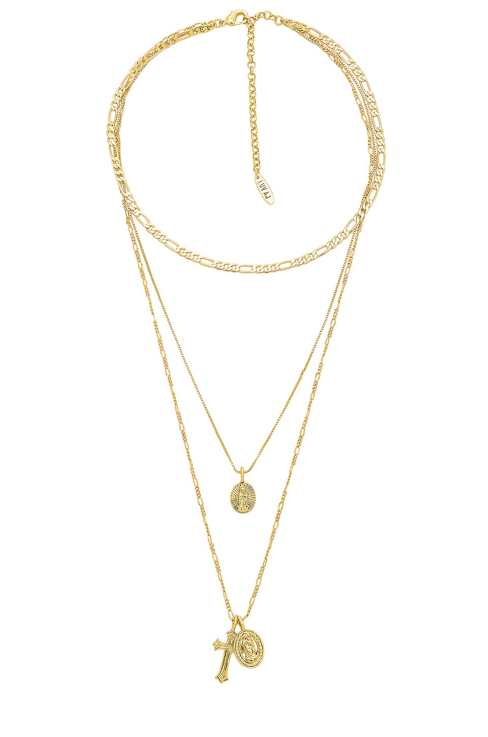 Luv AJ x SABO LUXE The Isidore Cross Charm Necklace in Antique Gold