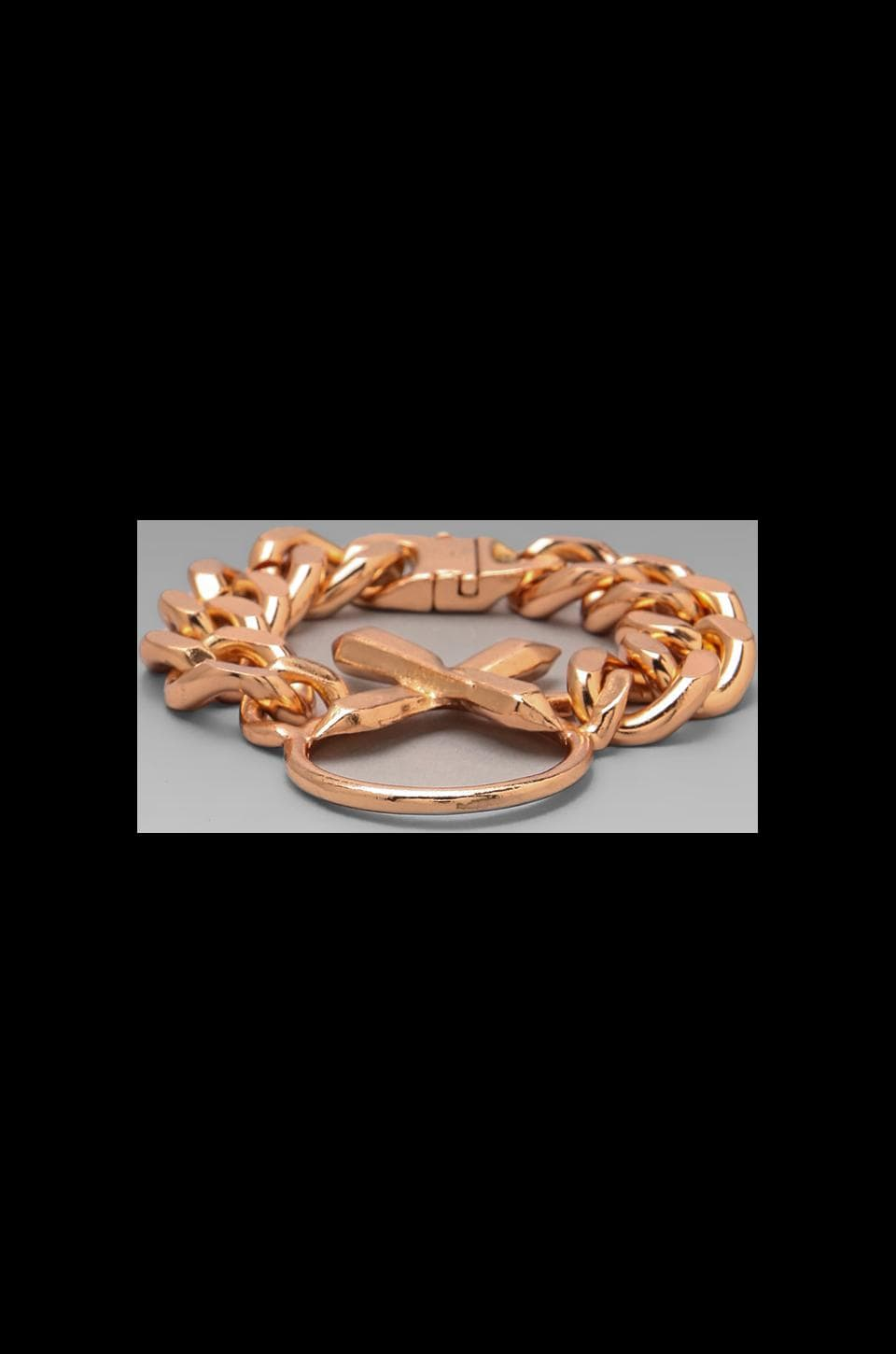 Luv AJ The Crystal Cross Bracelet in Shiny Rose Gold