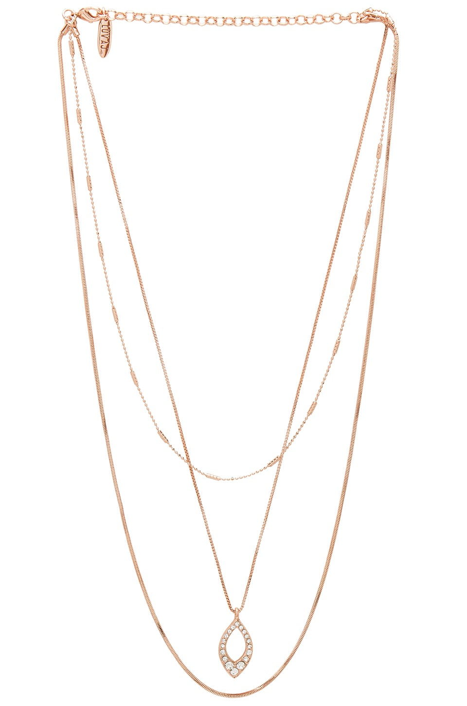 The Pave Marquise Charm Necklace in Metallic Copper Luv AJ kM6KN