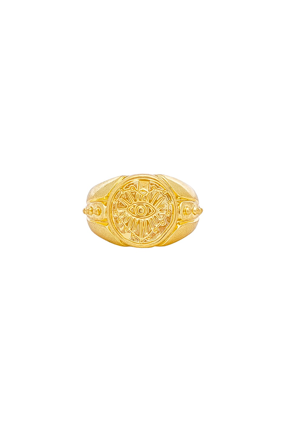 THE EVIL EYE COIN SIGNET PINKY RING