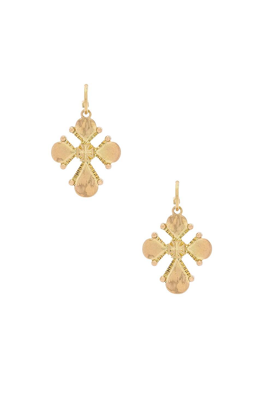 LUV AJ Nouveau Cross Statement Earrings in Metallic Gold