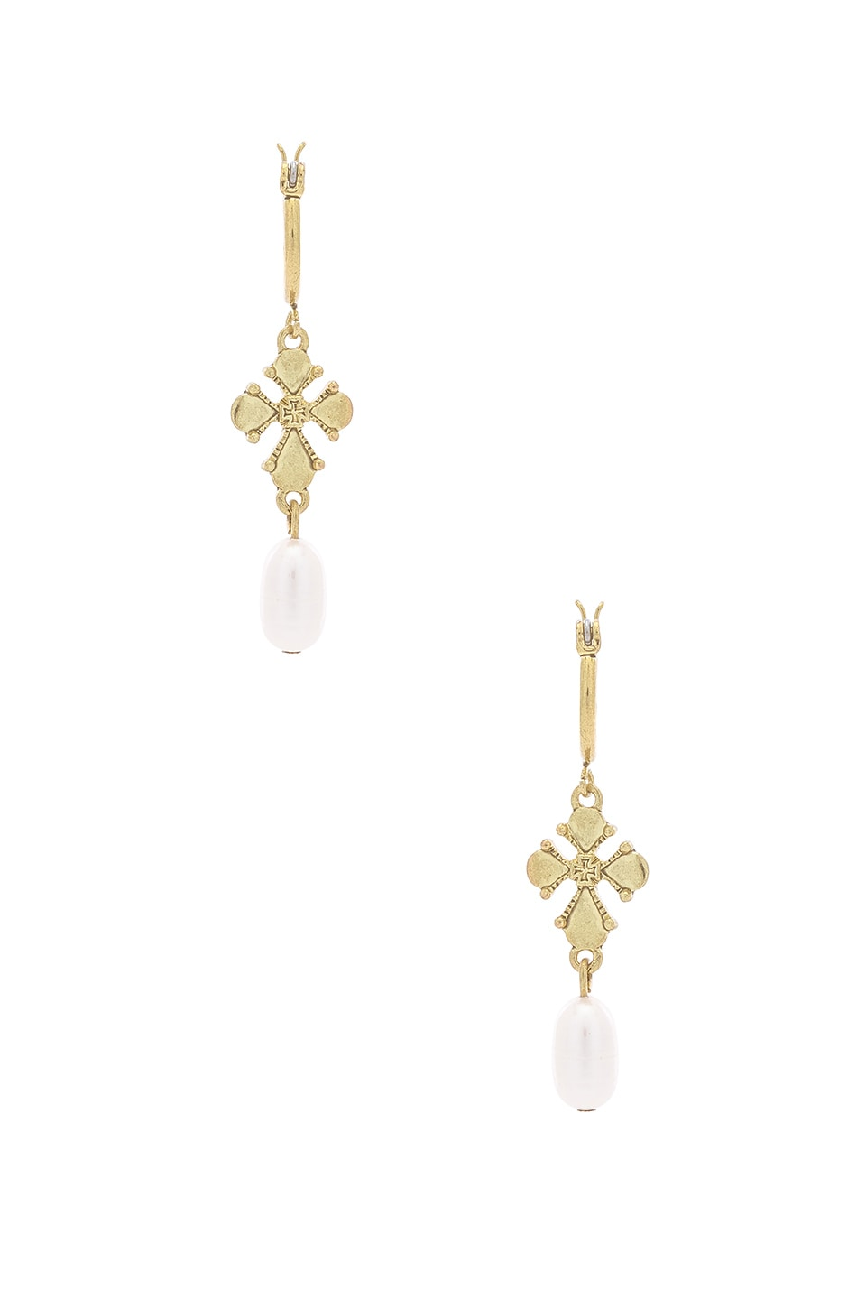 LUV AJ Nouveau Cross With Freshwater Pearl Mini Hoops in Metallic Gold