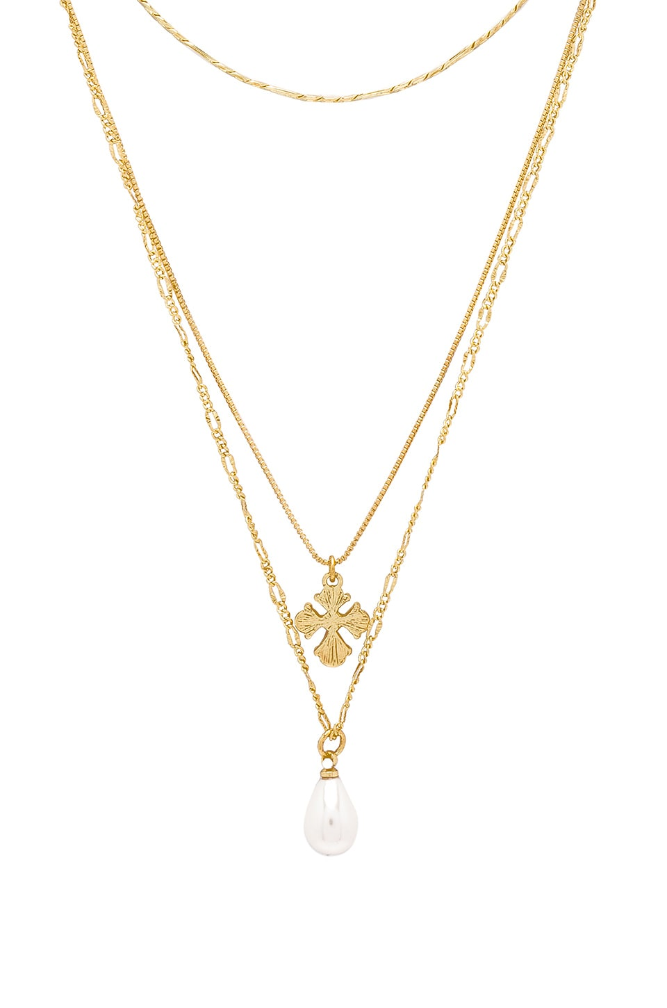 LUV AJ Nouveau Cross With Freshwater Pearl Charm Necklace in Metallic Gold