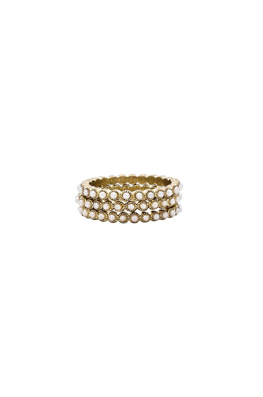 LUV AJ Bezel Pearl Ring Set in Metallic Gold