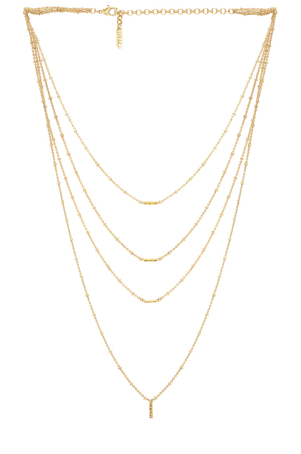 Luv AJ Ombre Bar Multi Charm Necklace in Gold