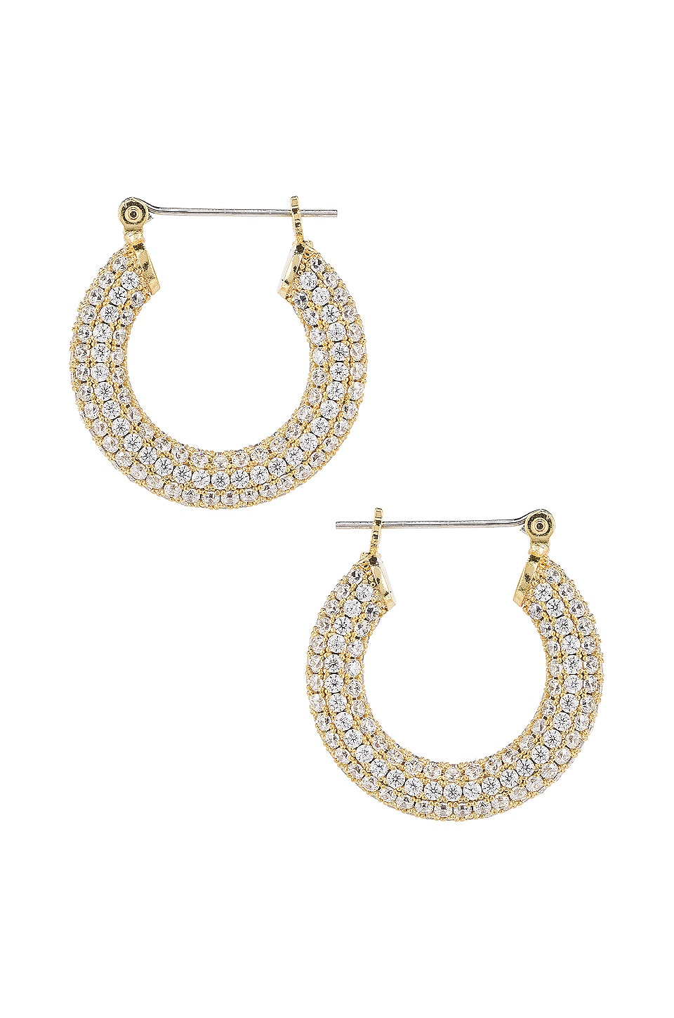 Luv AJ The Pave Baby Amalfi Hoops in Gold