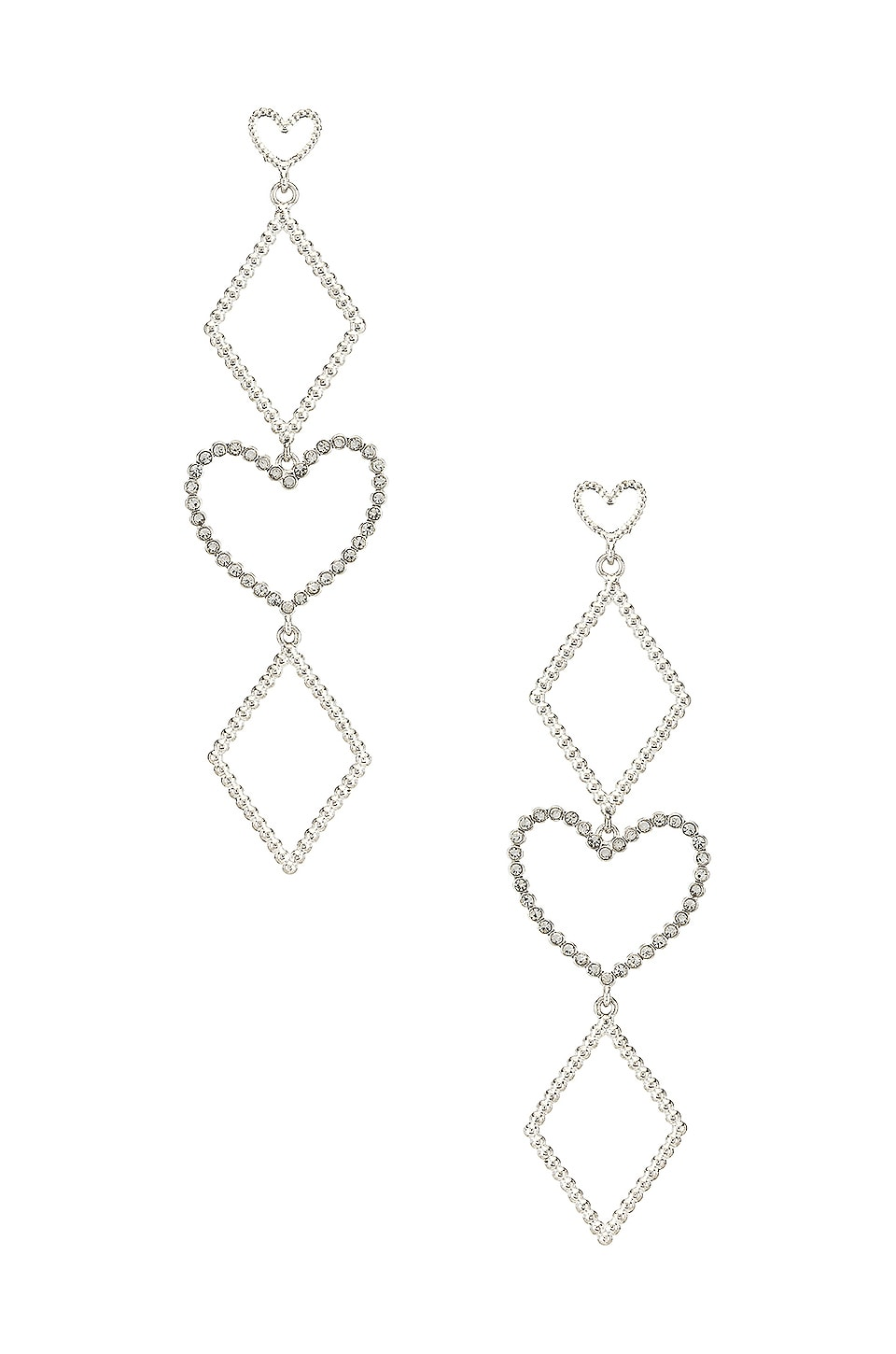 Luv AJ The Dotted Heart Statement Earrings in Silver