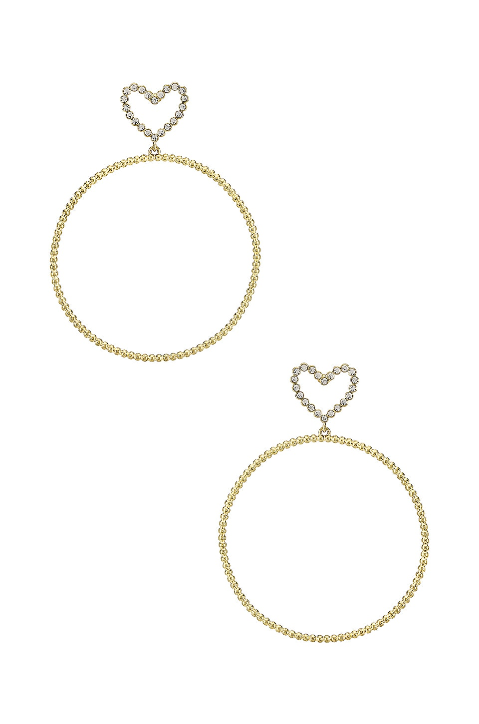 Luv AJ The Dotted Heart Hoop Earrings in Gold