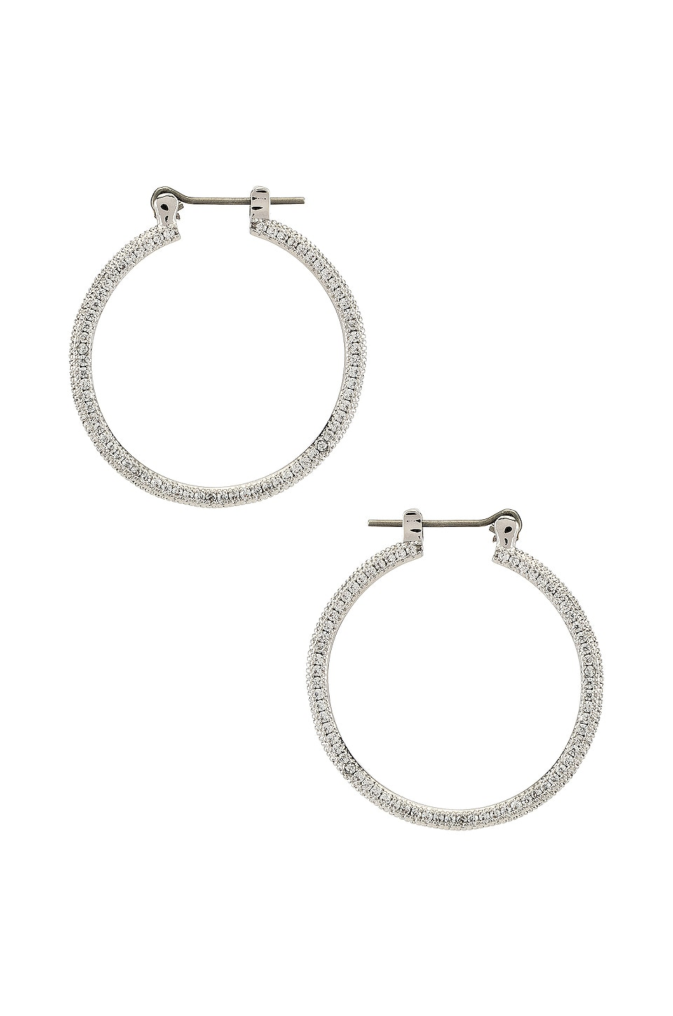 Luv AJ The Mini Triple Pave Hoop Earrings in Silver