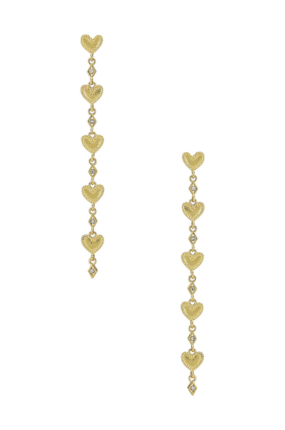 Luv AJ The Dotted Heart Drop Stud Earrings in Gold