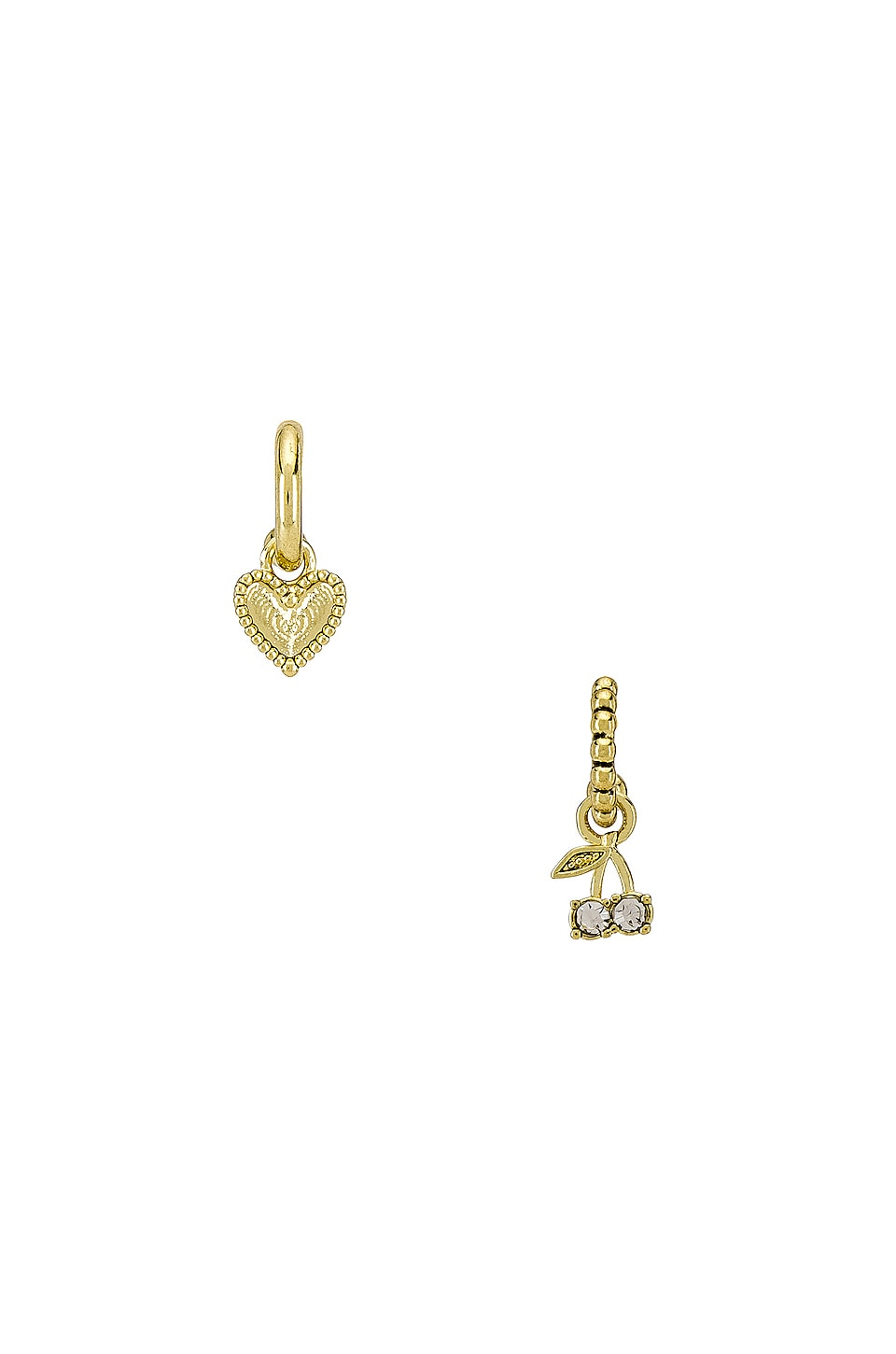 Luv AJ The Cherry & Heart Studded Huggie Earring Set in Gold