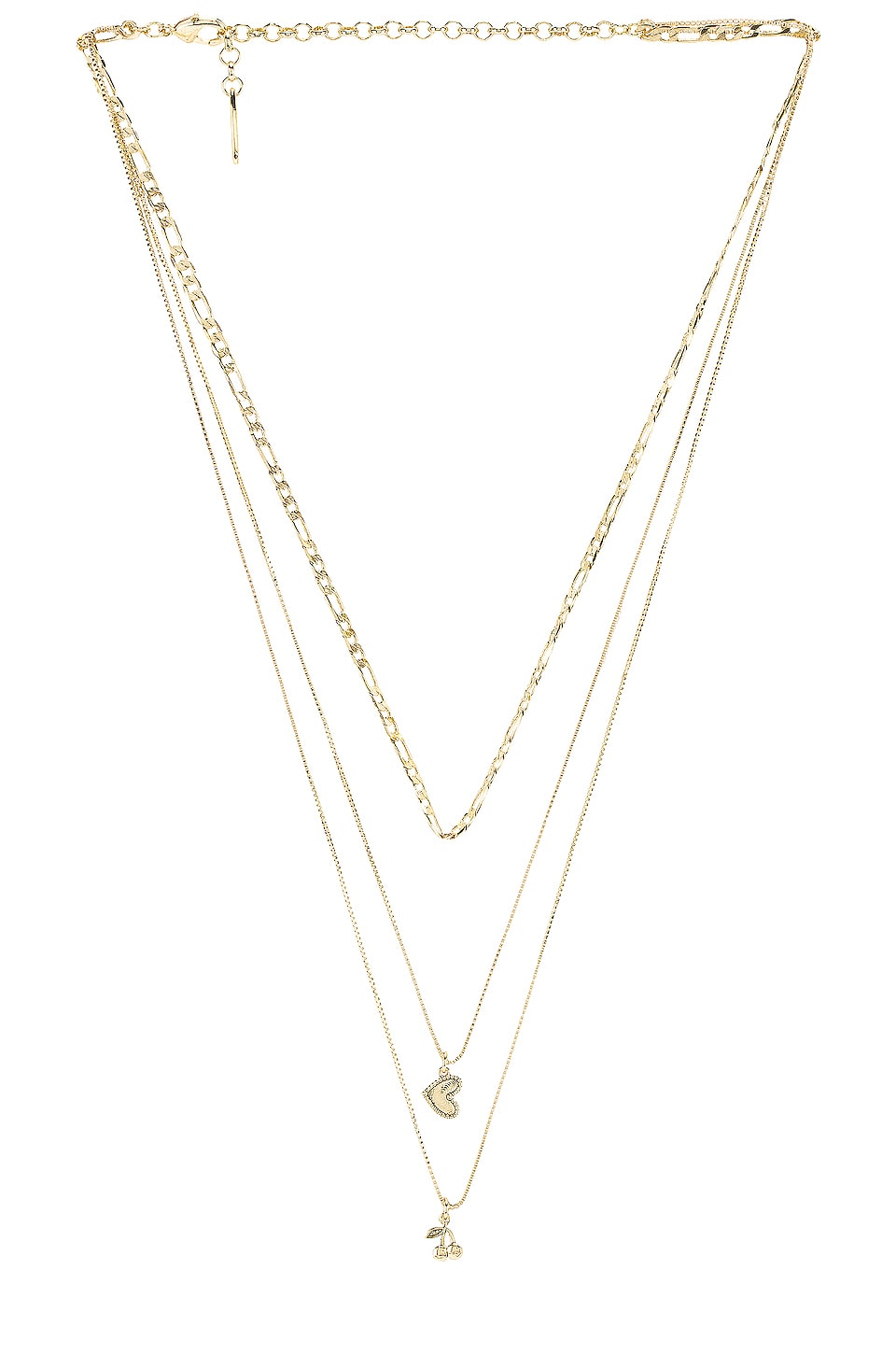 Luv AJ The Triple Cherry Heart Charm Necklace in Gold