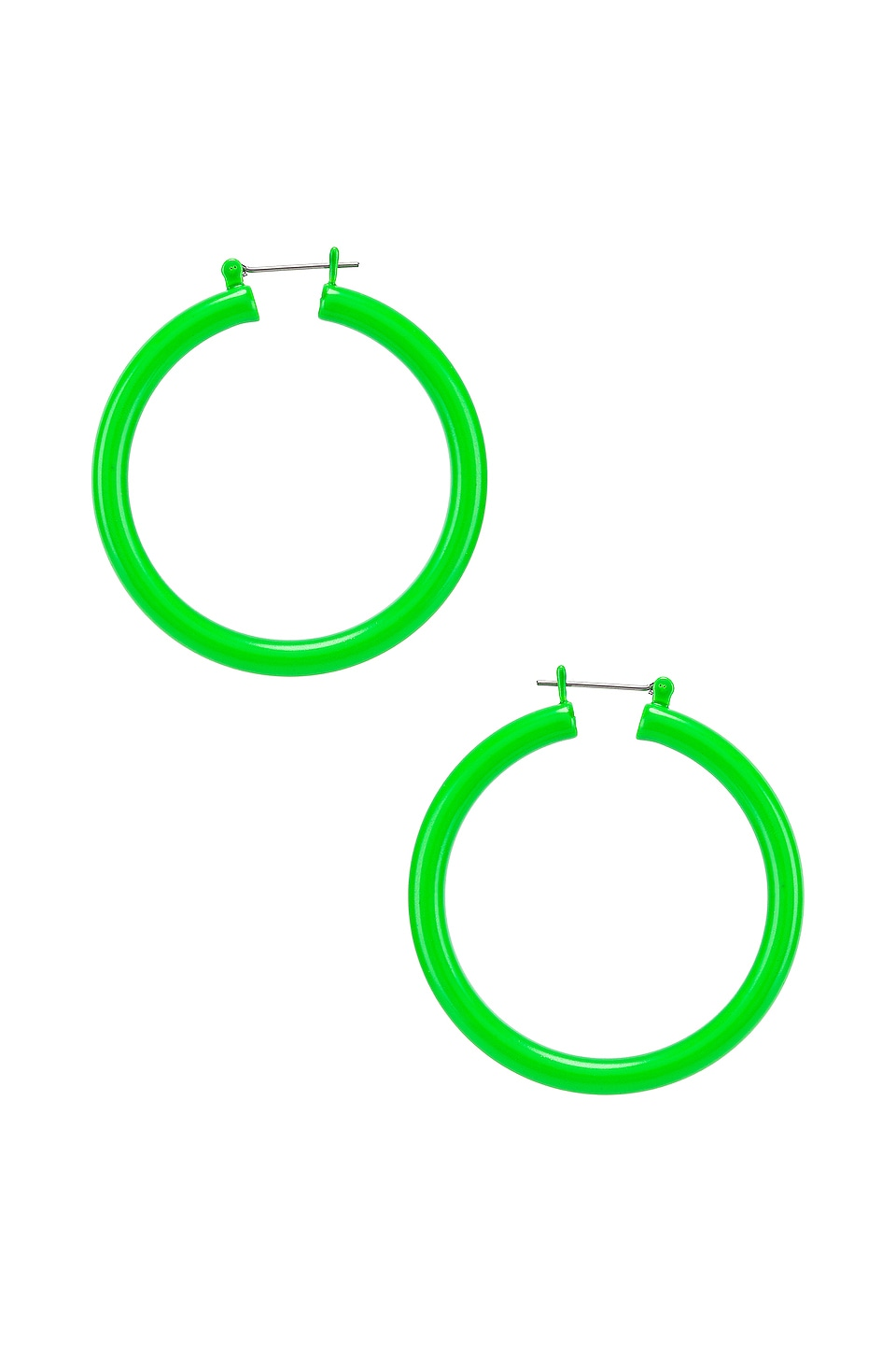 Luv AJ Rainbow Amalfi Hoop Earrings in Neon Green